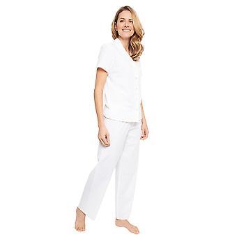 Cyberjammies 1362 Women's Nora Rose Ellen White Jacquard Print Cotton Woven Pyjama Set