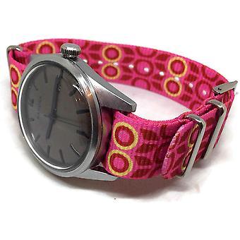 N.at.o zulu g10 stil klockarmband 20mm gul rosa blomma mönster rostfritt stål spänne