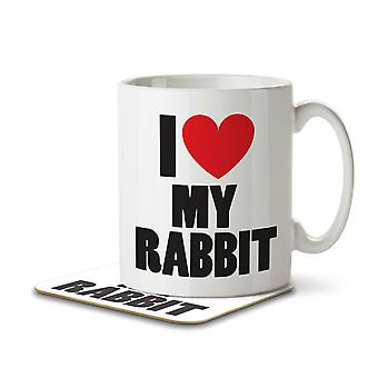 I Love My Rabbit - Mug and Coaster