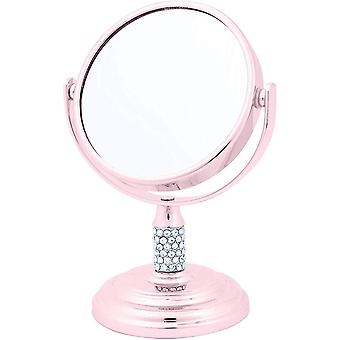 Danielle Mini Pedestal Rose Gold Mirror with Crystals 4x Magnification