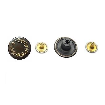 17mm Antique Bronze One Star with Leaves Buttons with Pins