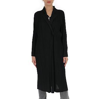 Issey Miyake Pleats Please Pp06ja14315 Women's Black Cotton Coat