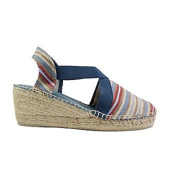 Toni Pons Tarbes Denim Multi Coloured Canvas Womens Wedge Heel Espadrille Shoes