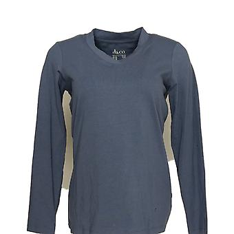 Denim & Co. Women's Top Crossover V-Neck Long-Sleeve Blue Tee A346276