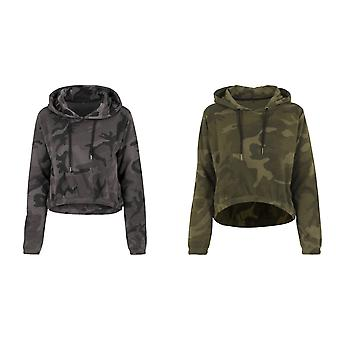 Build Your Brand Womens/Ladies Camo Cropped Hoodie
