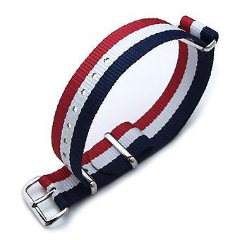 Strapcode n.a.t.o مشاهدة حزام miltat 18mm g10 العسكرية حزام حزام النايلون الباليستية armband، مصقول - طبعة العلم الفرنسي