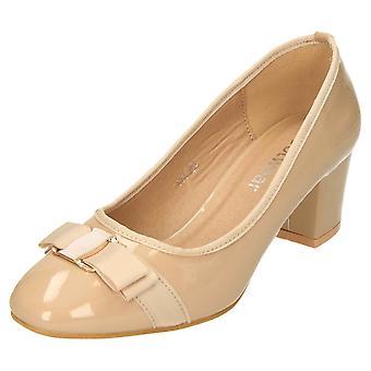 Koi Footwear Nude Patent Block Heel Court Shoes