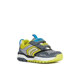 Geox Kids J Tuono Boy A Touch Fastening Trainer Dk Grey/Lime