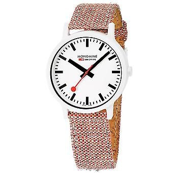 Mondaine Essence White Dial Red Cork Strap Quartz MensWatch MS1.41110.LP