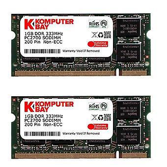 Komputerbay 2GB (2x1GB) DDR SODIMM (200 pins) 333Mhz PC2700 DDR333 PORTATILE MEMORIA