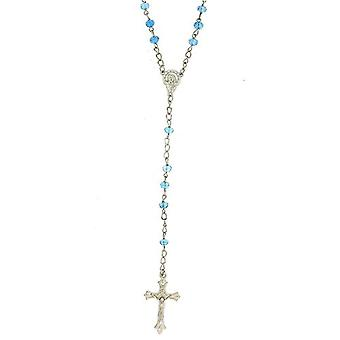 Equilibrium Blue Glass Rosary Beads Necklace & Cross 30""