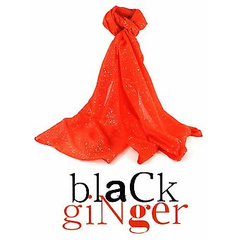 Black Ginger Diamantina Dark Orange Sparkle Scarf (734-228)