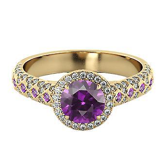 14K Gelb Gold 2,50 Ctw Amethyst Ring mit Diamanten Vintage Micro Pave Halo