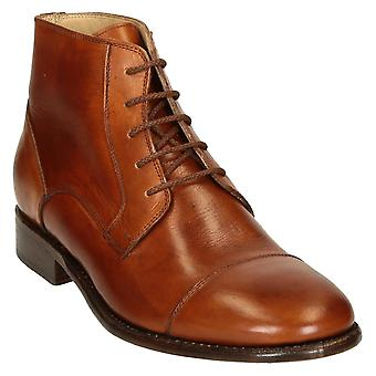 Tan horse leather plain cap toe men's dress boots