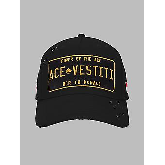 Ace Vestiti Paint Splatt Plated Baseball Cap - Black/Gold