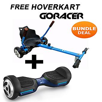 G PRO Blue Segway with a Racer Hoverkart in Blue