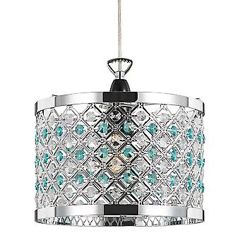 Modern Sparkly Ceiling Pendant Light Shade with Clear and Teal Beads