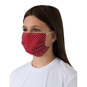 Mio WNS5 Sweet Spot Vermelho e Branco Polka Dot Máscara facial de algodão com fio de nariz removível