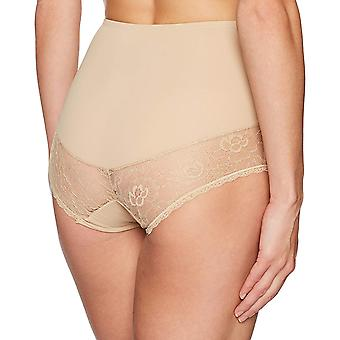 Arabella Women's Microfiber and Lace Smoothing Shapewear Brief, Sand, Large
