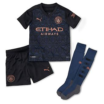 Puma Manchester City 2020/21 Junior Kids Mini Away Football Kit Black