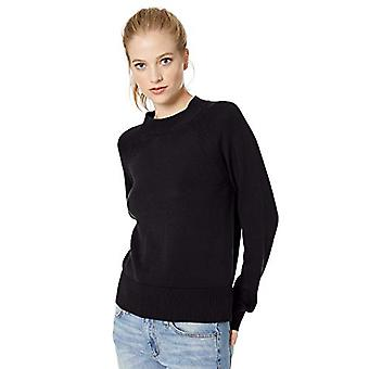 Brand - Daily Ritual Women's 100% Cotton Mock-Neck Sweater, Navy, Large