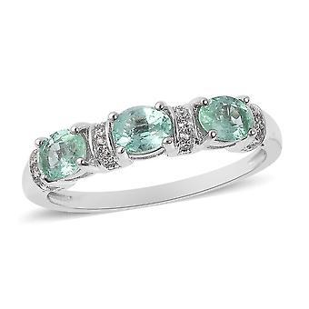Emerald Three Stone Ring Femmes Sterling Argent Blanc Zircon , 1.1 Ct TJC
