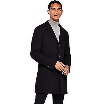 find. Men's Coat in Longline Wool, (Black), XL (US L - XL)
