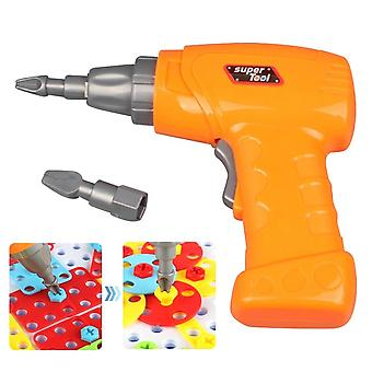 Kid Simulation Electric Drill Maintenance Repair Tool Toy With 2pcs Tips-
