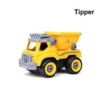 1 sett montert dump inertial bil lastebil gravemaskin -mikser roller modell bil puslespill