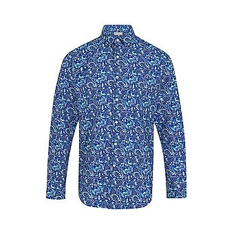 Jenson Samuel Royal Blue Floral Print Regular Fit Katoen Shirt