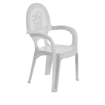 Resol 2 Piece Mini Kids Garden Chair Set - Plastic Outdoor Play Bedroom Children's Furniture - White