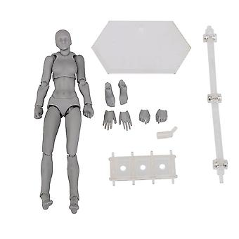 Plastic Action Figure Model Human Mannequin Woman Painting Prop Gray