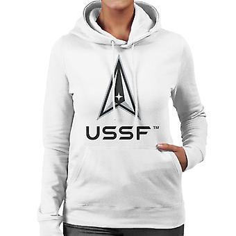 U.S. Space Force Lighter Logo USSF Dark Text Women's Hooded Sweatshirt