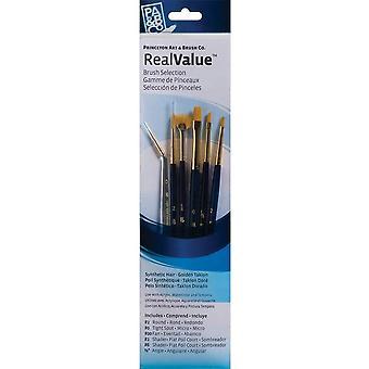 Princeton Real Value Brush Selection Set of Golden Taklon Paint Brushes x 6