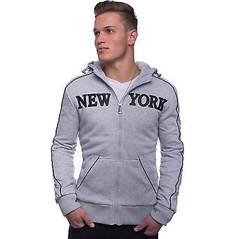 Homme veste de survêtement à capuche doublée capuche Zip New York gris noir