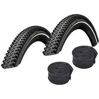 """Velo.Set 2 x Continental AT Ride Bicycle Tires = 42-622 (28×1.6"""") + Hoses"""