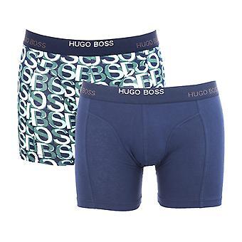 BOSS Bodywear 2 Pack Organic Cotton Patterned Blue Boxer Briefs