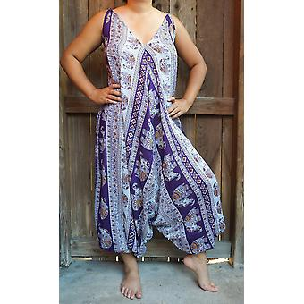 Purple Elephant Boho Hippie Jumpsuit Rompers