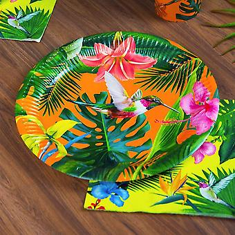Tropical Plants Paper Plates - Party Tableware x 12