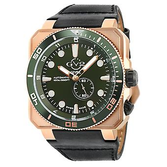 GV2 Automatic Men's XO Submarine Green Dial IP RG Case Black Calfskin Leather Watch