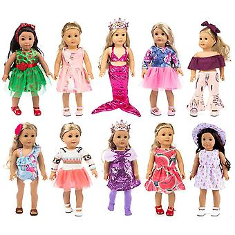 Ebuddy 10-sets fashion doll clothes and accessories with popular elements horn style,unicon,flamingo