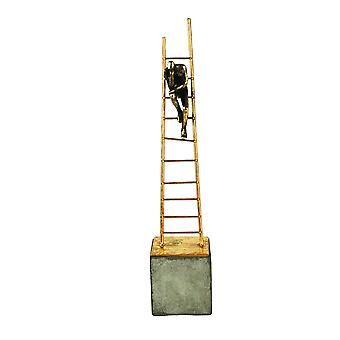 Gold Ladder Sculpture, Sitting Man