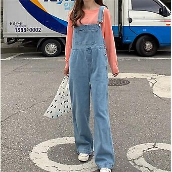Korean Style Ulzzang Overalls Solid Elastic Waist Pockets High Waist Jeans