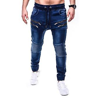 Mens Black Denim Calças Zipper Blue Pencil Pants Pure Color For Jeans