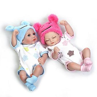 Handmade Mini Vinyl Silicone Realistic Twin Girl With Mat