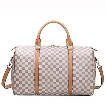 Classic Plaid Leather Travel & Business Tote, Carry Luggage Bags