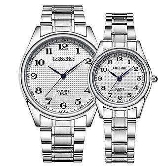 LONGBO 80024 Casual Style Couple Wrist Watch Steel Strap Analog Quartz Watch