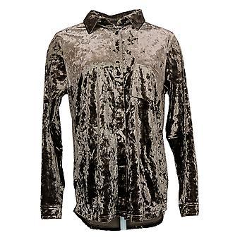 الحسناء من قبل كيم الحصى المرأة & apos;ق أعلى المخملية قميص كبير ث / جيب براون A388508