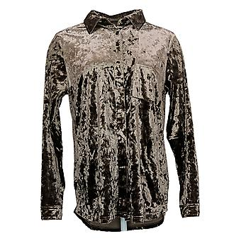 Belle de Kim Gravel Women's Top Velvet Big Shirt w/ Pocket Brown A388508