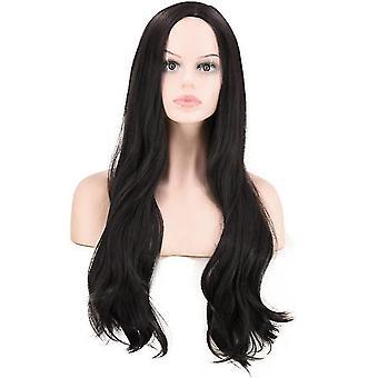 Дамы Черный Длинный прямой вьющиеся волосы парик, может быть dyed парик, шелковистый, полностью жаростойкие синтетические, природные и дышащий